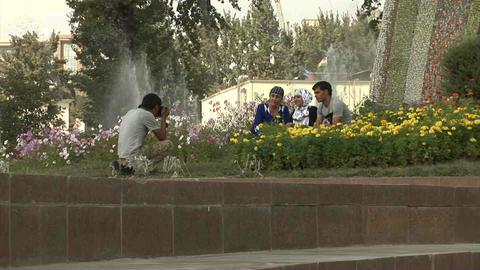 Rudaki Park People Taking Picture Dushanbe Tajikis Stock Video Footage