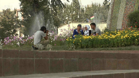 Rudaki Park People Taking Picture Dushanbe Tajikis Footage