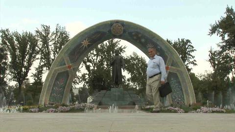 Rudaki Park Rudaki Statue Dushanbe Tajikistan Stock Video Footage