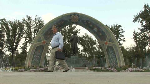 Rudaki Park Rudaki Statue Dushanbe Tajikistan Footage
