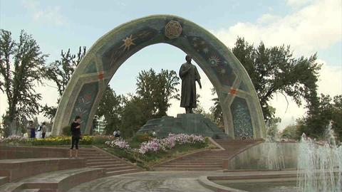 Rudaki Park Rudaki Statue Dushanbe Tajikistan 3 Footage