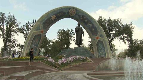 Rudaki Park Rudaki Statue Dushanbe Tajikistan 3 Stock Video Footage