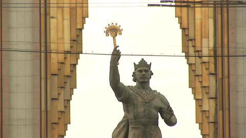 Somoni Statue Dushanbe Tajikistan Stock Video Footage