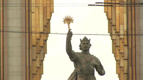 Somoni Statue Dushanbe Tajikistan Footage