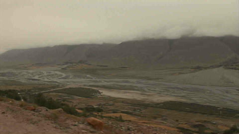 View on Afghanistan Driving in Wakhan Valley Rain  Footage