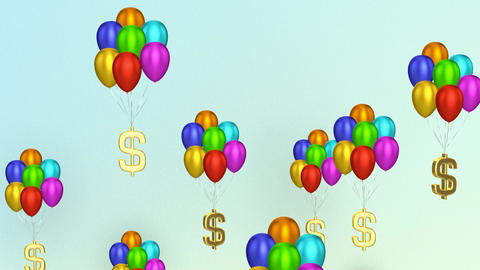Dollar Signs With Balloons Animation