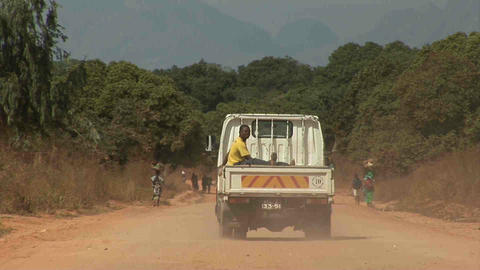 Car on dusty Road Stock Video Footage