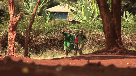 Kids dancing on dusty road Stock Video Footage