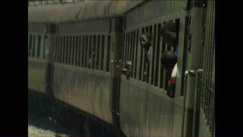 People in Train Zimbabwe Stock Video Footage