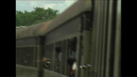 People in Train Zimbabwe Stock Video Footage