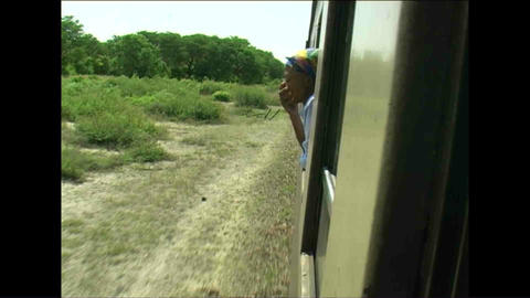 Train Woman watching Zimbabwe Footage