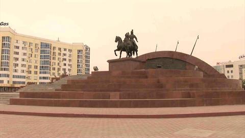Atyrau Monument Kazakhstan Stock Video Footage