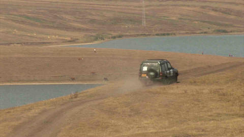 4WD Car Driving offroad in Kazakhstan Footage