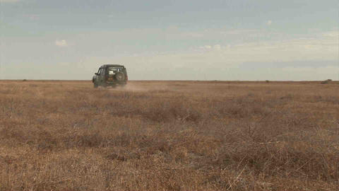Car on Steppe Kazakhstan Footage