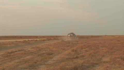 Car on Steppe Kazakhstan Stock Video Footage
