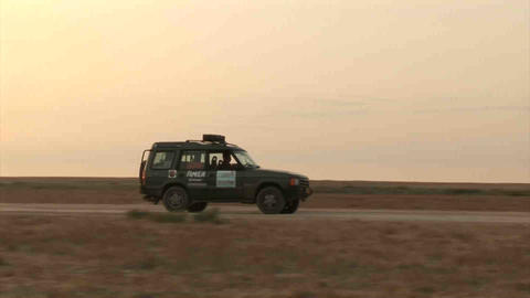 Car Sunset Kazakhstan Stock Video Footage