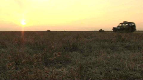 Car Sunset Kazakhstan Stock Video Footage