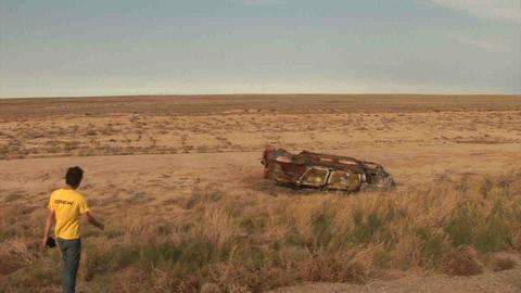 Encountering Car Wreck Kazakhstan Stock Video Footage