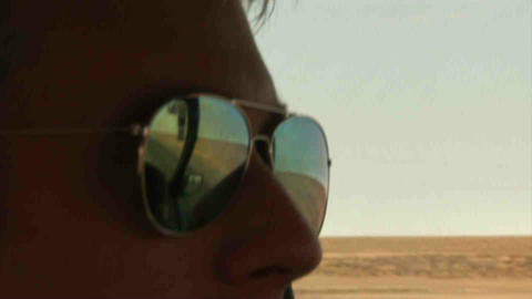 Guy Driving Landrover Sunglasses Kazakhstan Stock Video Footage