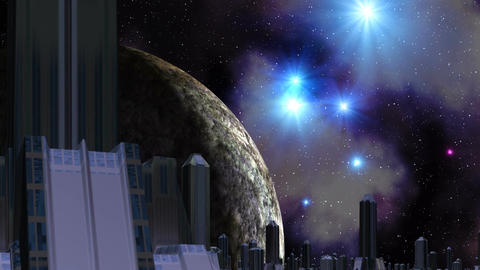 City of aliens, huge planet and UFO Stock Video Footage