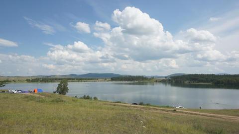 Khakassia Dog Lake Landscape 02 pan right Stock Video Footage