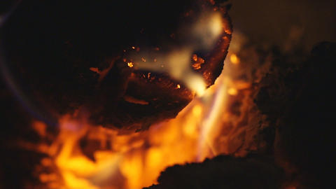 Smoldering firewood in a furnace 05 Stock Video Footage