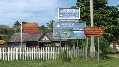 Don Khong, signs in village Footage