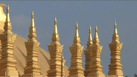 Vientiane Pha That Luang detaill Stock Video Footage