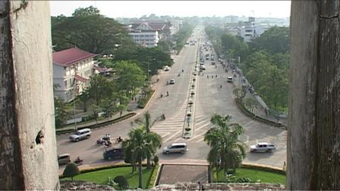 Vientiane Patuxai, overview Stock Video Footage