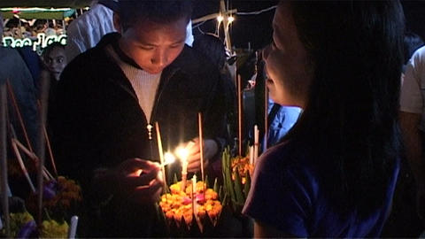 Candles for Bun Nam (water festival) Footage