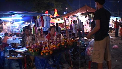 Evening market at Bun Nam (water festival) Footage