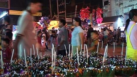 Evening market at Bun Nam (water festival) Stock Video Footage