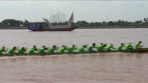 Vientiane, Boat race (suang heua) for Bun Nam Stock Video Footage