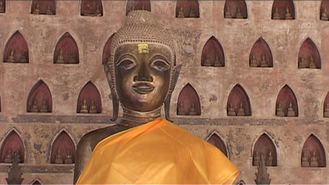 Wat Si Saket temple, buddhas Stock Video Footage
