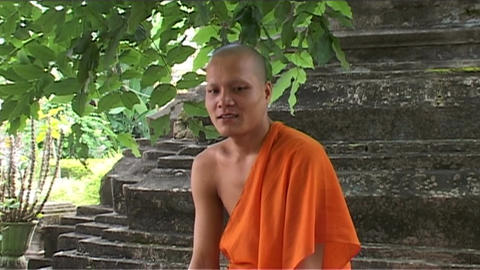 Wat Si Saket temple, monk smiling Footage