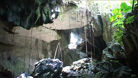 Vang Vieng Khan cave Stock Video Footage