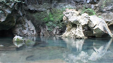 Vang Vieng cave with blue lagoon Footage