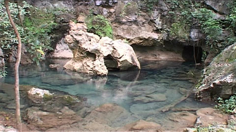 Vang Vieng cave with blue lagoon Stock Video Footage