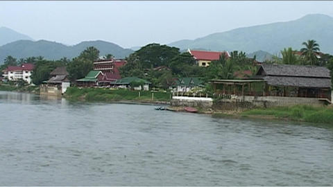 Vieng Nam Xong river with karst hills Stock Video Footage