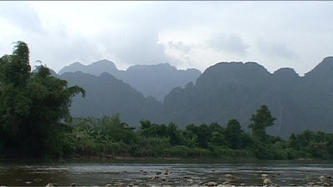 Vang Vieng, Karst hill landscape Stock Video Footage