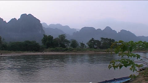 Karst mountains, sunset red Footage