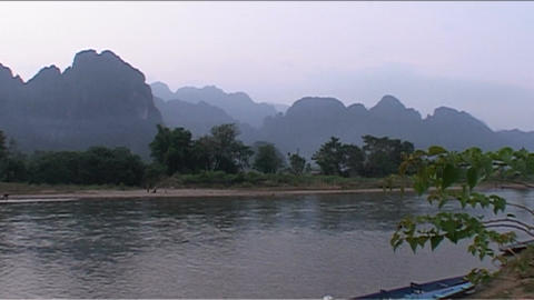Karst mountains, sunset red Stock Video Footage