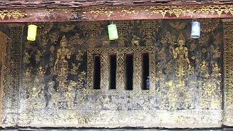 Luang Prabang Wat Xieng Thong temple, wall Footage