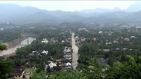 Mount Phu Si, view over town Stock Video Footage