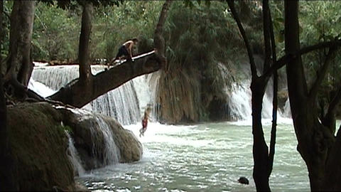 Luang Prabang, Kuang Si waterfall Stock Video Footage