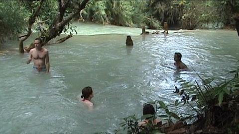 Luang Prabang Kuang Si waterfall Stock Video Footage