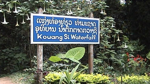 Luang Prabang, Kuang Si waterfall, sign Footage