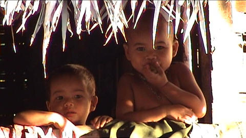 Ban Nalan Khamu village, children watching Stock Video Footage