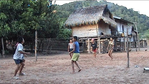 Khamu boys playing soccer Stock Video Footage