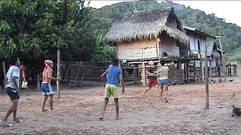 Khamu boys playing soccer Footage